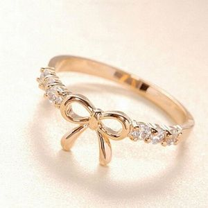 Gold CZ Bow Tie Crystal Ring